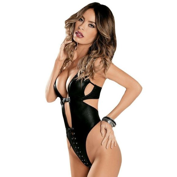 SpendWithJen Other - Faux Leather Domination Lace Up Teddy Lingerie